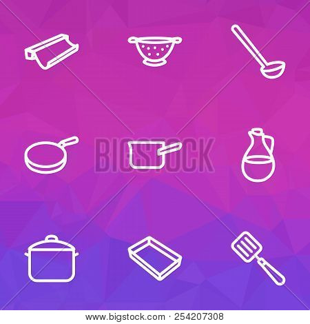 Dishware Icons Line Style Set With Casserole, Pan, Ladle And Other Dishware Elements. Isolated Vecto