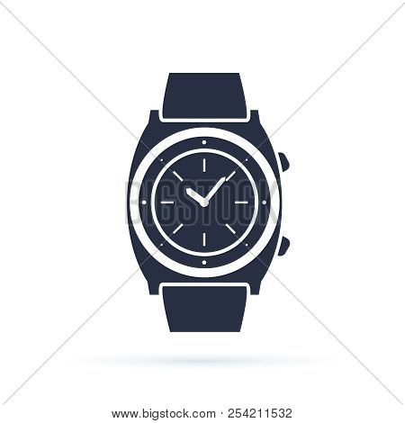 Watch Vector Icon Isolated On White. Luxury Man Watches Icon. Classic Wrist Chronograph Clock . Mech