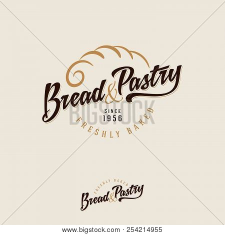 The Bakery Logo. Bread And Baking Emblem. Vintage Bakery Logo. Gold Pie Crust And Brown Inscription