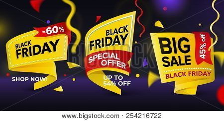 Black Friday Sale 2018. Set Of Beautiful Discount And Promotion Tags. Realistic Curved Paper Labels.
