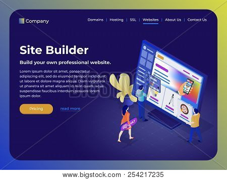 Constructor Of Web Pages And Websites. People In The Flat 3d Isometric Style Collect A Site From Blo