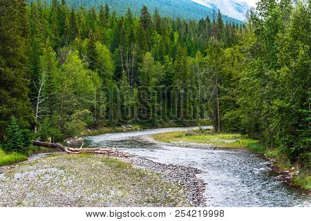 A Portion Of The Bow Rover In Banff, Canada Winds Its Way Through A Forest. The Canadian Rockies Are
