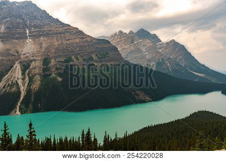 Landscape Wide Angle Photo Of Peyto Lake, Fed By Peyto Glacier.