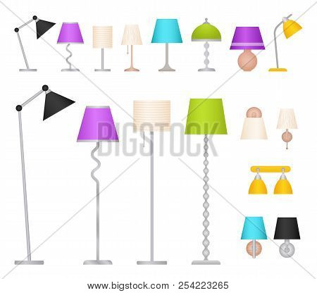 Lamp Set. Vector. Table, Floor, Wall And Work Lamps In Flat Design. Collection Lighting Elements Iso