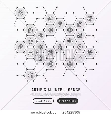 Artificial Intelligence Concept In Honeycombs With Thin Line Icons: Robot, Brain, Machine Learning,
