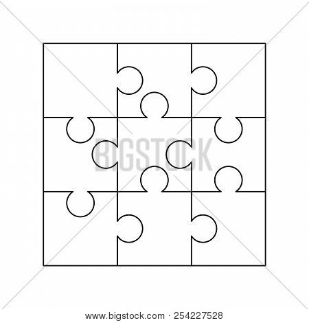 9 White Puzzles Pieces Arranged In A Square Jigsaw Puzzle Template Ready For Print