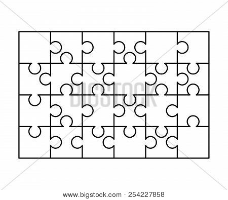 24 White Puzzles Pieces Arranged In A Rectangle Shape Jigsaw Puzzle Template Ready For Print