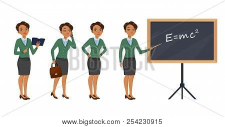 Female Teacher Character Set With Different Poses, Emotions, Actions. Textbook, Phone Call, Testing,