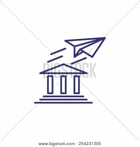 Bank Building With Paper Plane Line Icon. Banking Opportunities, Sms Banking, Sms Notification. Bank