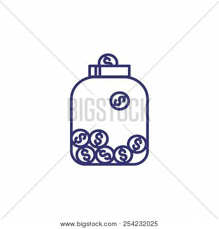 Coins In Glass Jar Line Icon. Earning, Saving, Budget. Bank Concept. Vector Illustration Can Be Used