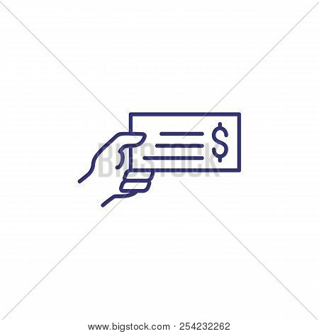 Hand Holding Bank Bill Line Icon. Payment Bill, Cheque, Invoice. Currency Concept. Vector Illustrati