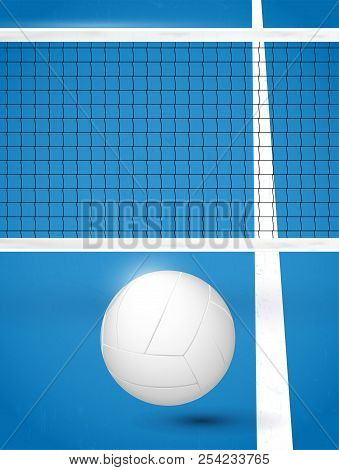 Volleyball Ball On Blue Playground With White Line And Net - Vector Illustration