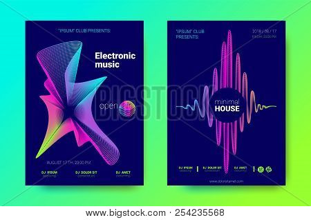 Electronic Music Party Posters. Abstract Vector Background. Colorful Wave Lines And Gradient Equaliz