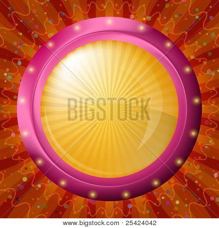 Glass porthole on red background