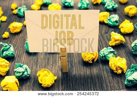 Handwriting Text Writing Digital Job. Concept Meaning Get Paid Task Done Through Internet And Person