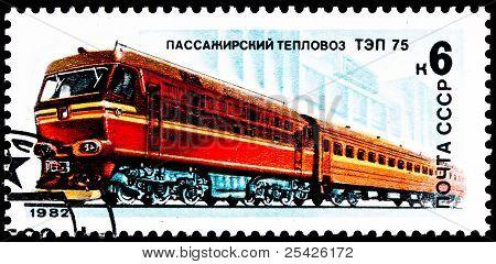 Russian Tep-75 Diesel Locomotive Train