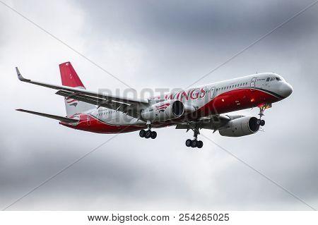 Novyy Urengoy, Russia - August 18, 2018: Red Wings Tupolev Tu-204-100v Arrives To The Novyy Urengoy
