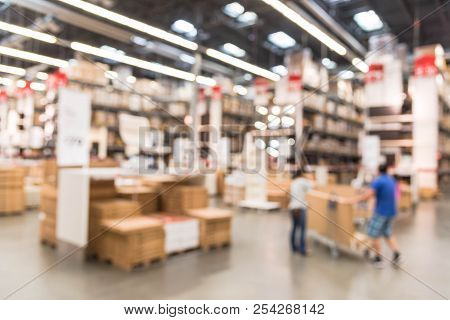 Abstract Motion Customers Shopping At Large Assemble Furniture Store In Usa