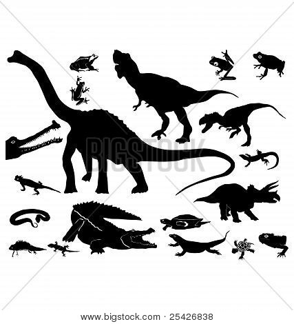 silhouettes of the reptiles