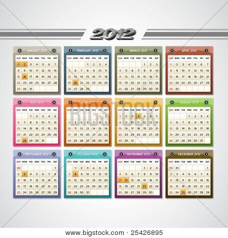 2012 Calendar Icons