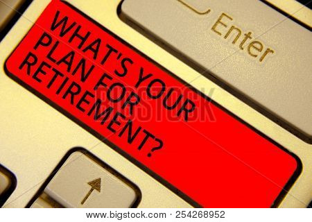 Word Writing Text What S Is Your Plan For Retirement Question. Business Concept For Savings Pension