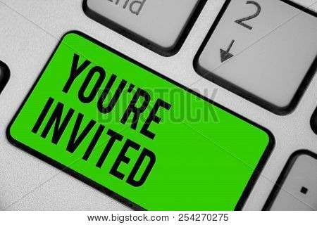 Writing Note Showing You Re Are Invited. Business Photo Showcasing Please Join Us In Our Celebration