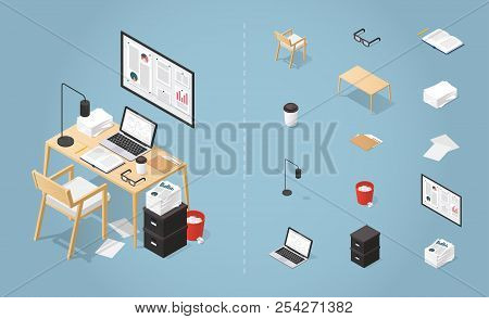 Office Workplace Vector Isometric Concept Illustration. Work Table Composition Plus Collection Of Ob