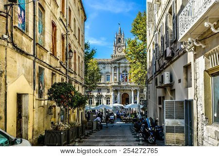 Avignon, France - September 22 2017: The Main Square And Avignon City Hall On A Summer Day With A La