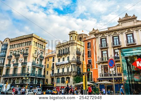 Barcelona, Spain - October 2 2016: Colorful Section Of Orange And Aqua On The Busy La Rambla In Barc