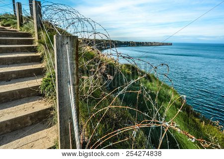 The Coast Of Normandy France, Pointe Du Hoc Where The Allied Forces Faced The Germans During World W