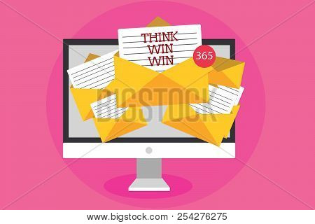 Text Sign Showing Think Win Win. Conceptual Photo Business Strategy Competition Challenge Way To Be