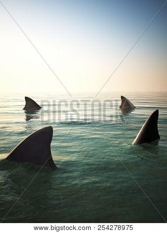 Shark Fins Circling Above The Ocean Water. 3d Rendering