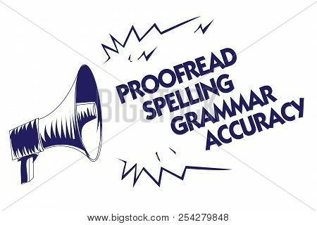Writing note showing Proofread Spelling Grammar Accuracy. Business photo showcasing Grammatically correct Avoid mistakes Blue megaphone loudspeaker important message screaming speaking loud. poster