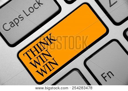 Conceptual Hand Writing Showing Think Win Win. Business Photo Showcasing Business Strategy Competiti