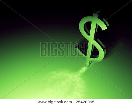 Glowing green dollar sign