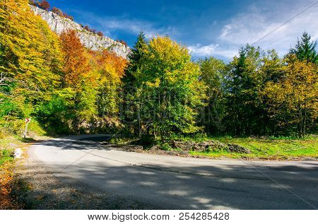 Lovely Autumn Landscape In Mountains. Mixed Forest With Colorful Foliage In Bright Light. Travel By