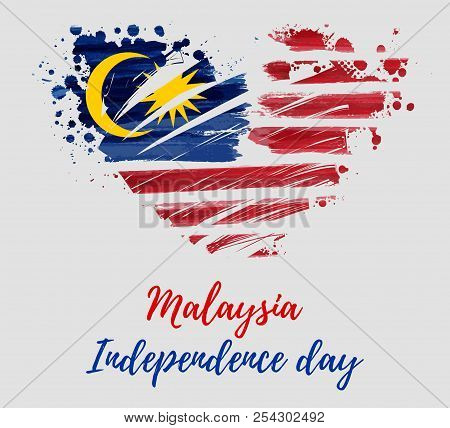 Malaysia Independence Day Background. With Painted  Flag Of Malaysia In Grunge Heart Shape. Hari Mer