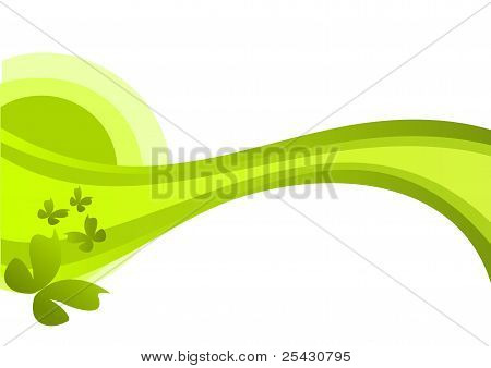 Floral ornament in green colors with butterflies