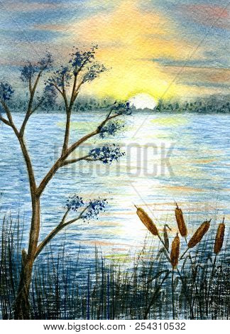 Sunset On River. Hand Painted Watercolor Illustration