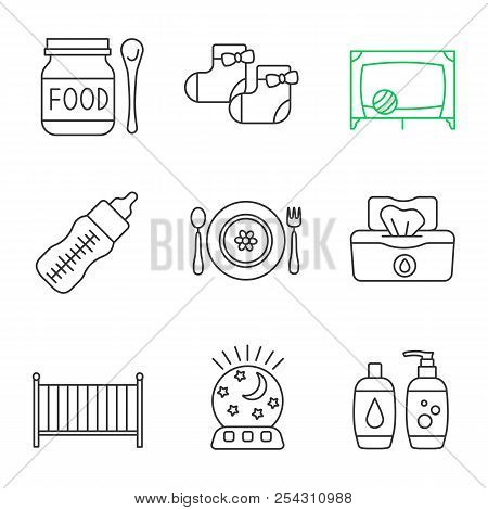 Childcare linear icons set. Baby food, socks, playpen, feeding bottle, dishes, wet wipes, crib, night light, shampoo and soap. Thin line contour symbols. Isolated vector outline illustrations poster