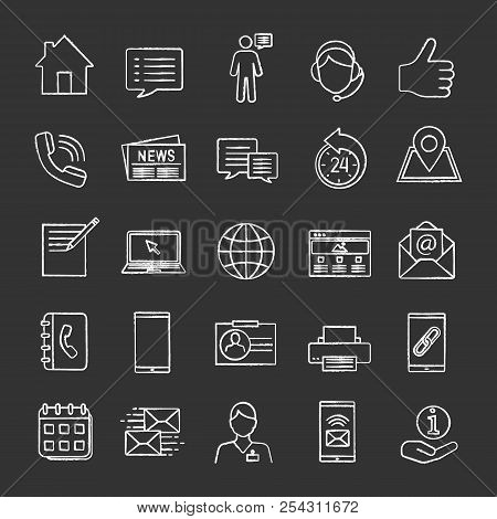 Information Center Chalk Icons Set. Office Supplies, Communication Devices, Support Service. Isolate