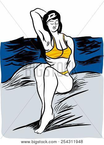 Siting On The Rocks.  Young Woman In Yellow Bikini Is Sitting On Stones On The Beach. Beautiful Biki