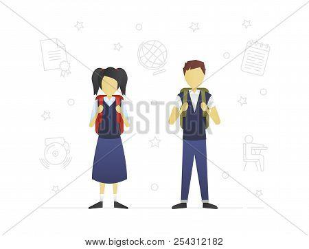 Schoolchildren Flat Character Design. Brother And Sister. Teenagers. Grade Schoolers With Backpacks.