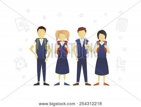 Group Of Children Flat Character Design. Teenagers. Grade Schoolers With Backpacks. Schoolchildren.