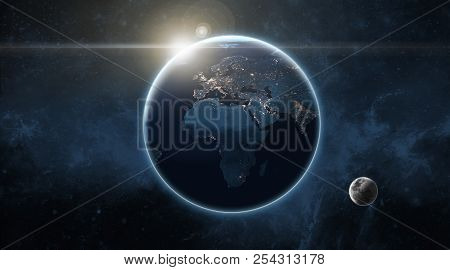 Earth And Moon In Space With Sunflare In The Background