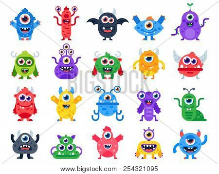 Cartoon Monster. Cute Happy Monsters, Halloween Mascots And Funny Mutant Toys. Scary Creatures Vecto