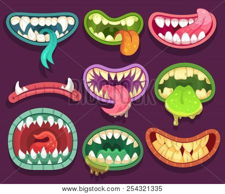 Monsters Mouths. Halloween Scary Monster Teeth And Tongue In Mouth. Funny Jaws And Crazy Maws Of Biz