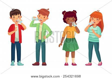 Kids drink glass of water. Happy boy and girl drinks. Children drinking hydration level care vector cartoon illustration poster