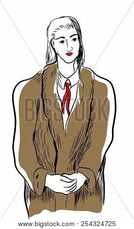 Woman Wearing Fur Coat.  Illustration Of Standing Woman Wearing Fur Coat.