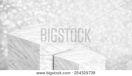 Product Display Stand Made From White Glossy Marble In Two Step On Silver Bokeh Sparkle Background H